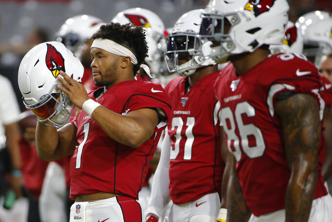 Arizona Cardinals quarterback Kyler Murray (1) warms up prior to an NFL preseason football game against the Los Angeles Chargers, Thursday, Aug. 8, 2019, in Glendale, Ariz. (AP Photo/Rick Scuteri)