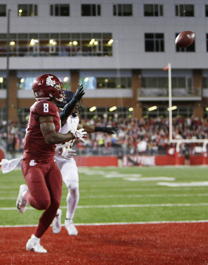 Washington State wide receiver Easop Winston Jr. (8) catches the go-ahead touchdown pass while defended by California cornerback Josh Drayden during the second half of an NCAA college football game in Pullman, Wash., Saturday, Nov. 3, 2018. Washington State won 19-13. (AP Photo/Young Kwak)