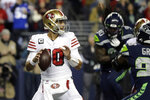 San Francisco 49ers quarterback Jimmy Garoppolo drops back to pass against the Seattle Seahawks during the first half of an NFL football game, Sunday, Dec. 29, 2019, in Seattle. (AP Photo/Ted S. Warren)