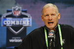 Las Vegas Raiders general manager Mike Mayock speaks during a press conference at the NFL football scouting combine in Indianapolis, Tuesday, Feb. 25, 2020. (AP Photo/Charlie Neibergall)