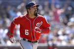 Washington Nationals' Anthony Rendon watches his home run during the eighth inning of a baseball game against the San Diego Padres Sunday, June 9, 2019, in San Diego. (AP Photo/Orlando Ramirez)
