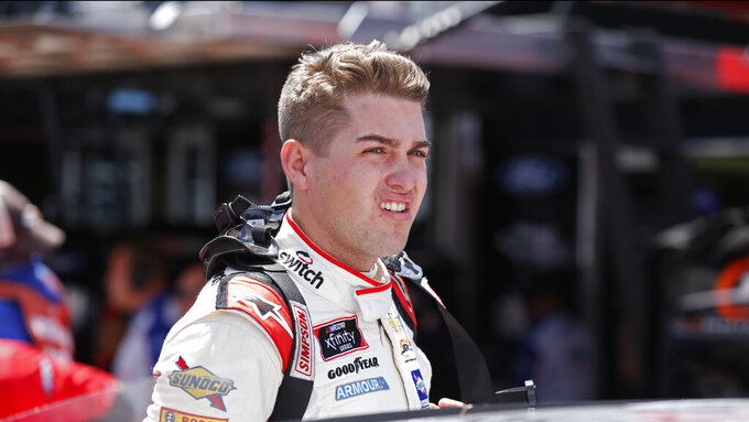 Driver Noah Gragson is seen in the pits before practice for an NASCAR Xfinity Series auto race on Thursday, Aug. 15, 2019, in Bristol, Tenn. (AP Photo/Wade Payne)