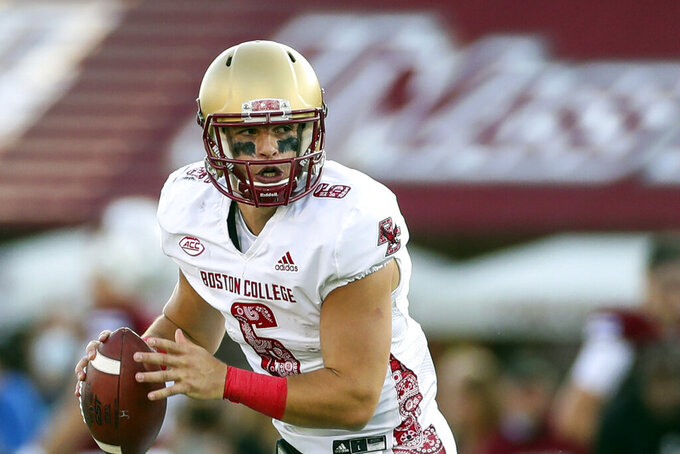 FILE- In this Saturday, Sept 11, 2021, file photo, Boston College Eagles quarterback Dennis Grosel (6) looks to pass during an NCAA football game against the Massachusetts in Amherst, Mass. Grosel is a pretty good option for Boston College when it heads to the stadium that's home to the Eagles (NFL version) to play Temple (1-1). (AP Photo/Damian Strohmeyer, File)