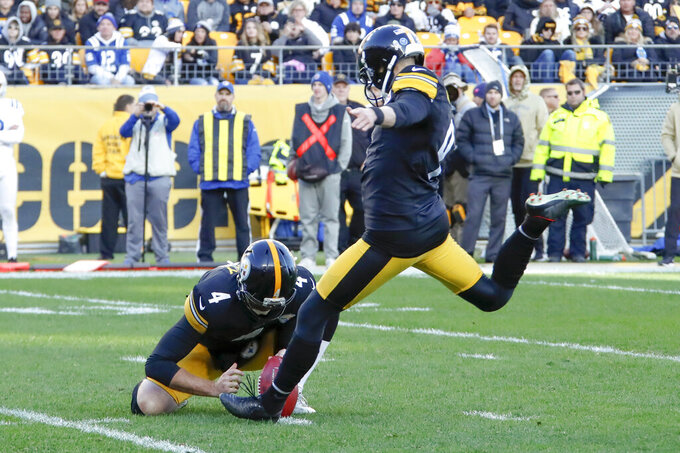 Pittsburgh Steelers kicker Chris Boswell (9) hits a field goal to take the lead they maintained against the Indianapolis Colts during the second half an NFL football game, Sunday, Nov. 3, 2019, in Pittsburgh. (AP Photo/Gene J. Puskar)