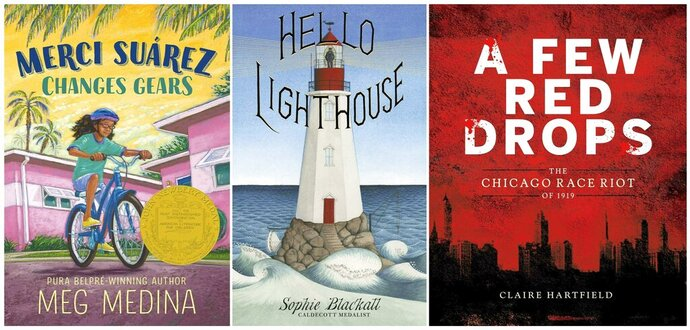 """This combination of book cover images shows Meg Medina's """"Merci Suárez Changes Gears,"""" from Candlewick Press, which won the  John Newbery Medal, left, Sophie Blackall's """"Hello Lighthouse"""" by Little Brown and Company Books for Young Readers, which received the Randolph Caldecott Medal for best picture story, center, and Claire Hartfield's """"A Few Red Drops: The Chicago Race Riot of 1919,"""" by Clarion Books, which won the Coretta Scott King author award for African-American literature. (Candlewick Press/Little, Brown and Company/Clarion Books via AP)"""