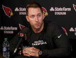 Arizona Cardinals head coach Kliff Kingsbury discusses the upcoming NFL football draft during a news conference, Tuesday, April 16, 2019, in Tempe, Ariz. (AP Photo/Matt York)