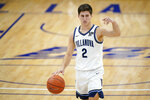 Villanova's Collin Gillespie dribbles down the court during the second half of an NCAA college basketball game against Butler, Wednesday, Dec. 16, 2020, in Villanova, Pa. (AP Photo/Matt Slocum)