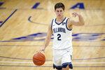Villanova's Collin Gillespie dribbles down the court during the second half of an NCAA college basketball game against Butler, Wednesday, Dec. 16, 2020, in Villanova, Pa. (AP Photo/Matt Slocum)
