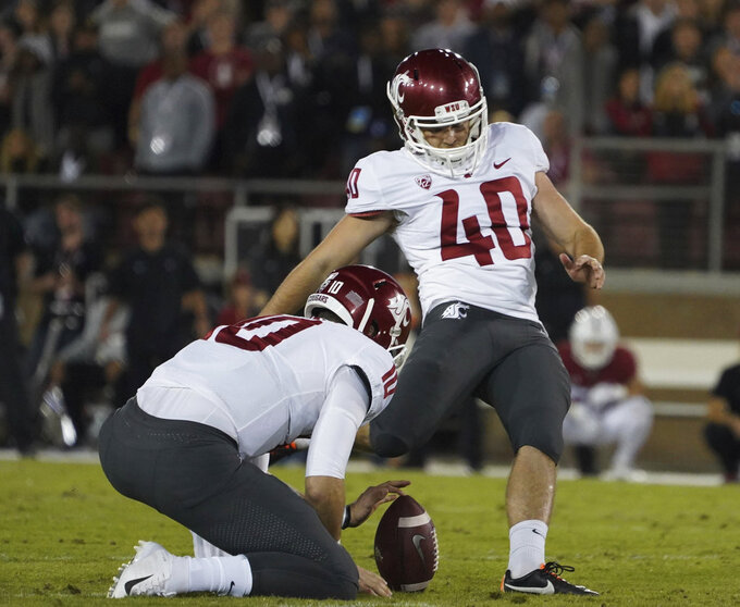 Washington State kicker Blake Mazza (40) kicks the winning field goal in the second half of an NCAA college football game against Stanford on Saturday, Oct. 27, 2018, in Stanford, Calif. (AP Photo/Don Feria)