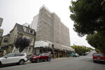 Shown is a Presidio Heights building under renovation where a wealthy couple received a record half a million dollar buyout to vacate their luxury apartment of three decades in San Francisco on Friday, July 30, 2021. The $475,000 voluntary buyout is considered to be the largest in city history underscoring the lengths some landlords will go to to get rid of long-term tenants in a city with strict rent control and soaring market rents. (AP Photo/Eric Risberg)
