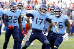 Tennessee Titans quarterback Ryan Tannehill (17) celebrates after scoring a 2-point conversion against the Kansas City Chiefs in the second half of an NFL football game Sunday, Nov. 10, 2019, in Nashville, Tenn. The Titans won 35-32. (AP Photo/James Kenney)