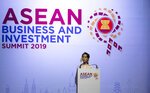 Myanmar leader Aung San Suu Kyi delivers a speech during the ASEAN Business and Investment Summit (ABIS) in Nonthaburi, Thailand, Saturday, Nov. 2, 2019. (AP Photo/Sakchai Lalit)