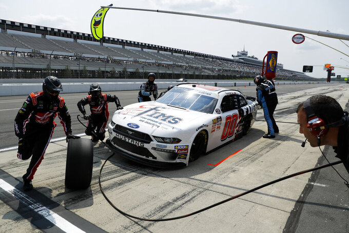 Cole Custer pits during the NASCAR Xfinity Series auto race at Pocono Raceway, Saturday, June 1, 2019, in Long Pond, Pa. (AP Photo/Matt Slocum)