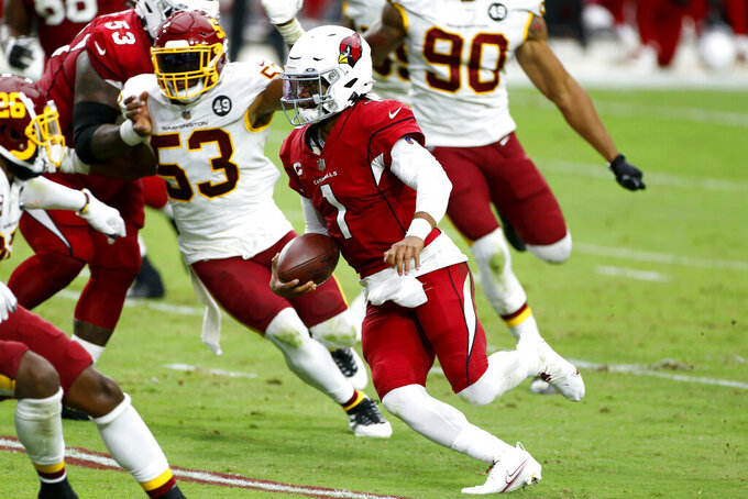 Arizona Cardinals quarterback Kyler Murray (1) runs for a touchdown as Washington Football Team inside linebacker Jon Bostic (53) pursues during the second half of an NFL football game, Sunday, Sept. 20, 2020, in Glendale, Ariz. (AP Photo/Darryl Webb)