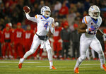Boise State quarterback Brett Rypien (4) throws a pass against New Mexico during the first half of an NCAA college football game in Albuquerque, N.M., Friday, Nov. 16, 2018. (AP Photo/Andres Leighton)