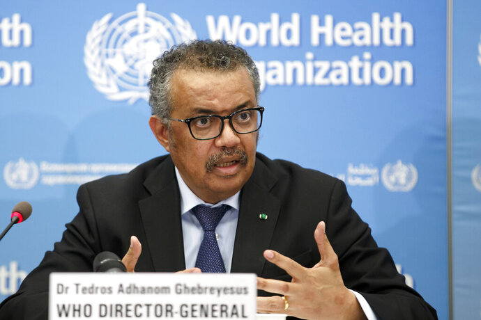 "FILE - In this Monday, Feb. 24, 2020 file photo, Tedros Adhanom Ghebreyesus, Director General of the World Health Organization (WHO), addresses a press conference about the update on COVID-19 at the World Health Organization headquarters in Geneva, Switzerland. The European Union is calling for an independent evaluation of the World Health Organization's response to the coronavirus pandemic, ""to review experience gained and lessons learned."" (Salvatore Di Nolfi/Keystone via AP, File)"