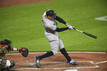 New York Yankees' Aaron Judge lines out to Baltimore Orioles center fielder Cedric Mullins during the fourth inning of a baseball game Saturday, May 15, 2021, in Baltimore. (AP Photo/Terrance Williams)