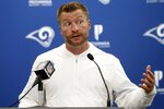 FILE - In this Sept. 8, 2019, file photo, Los Angeles Rams head coach Sean McVay speaks to members of the media following an NFL football game against the Carolina Panthers, in Charlotte, N.C.  The New Orleans Saints visit Los Angeles for a rematch of the NFC championship game won by the Rams, but remembered for the no-call that created the opening for Sean McVay's team to storm through. (AP Photo/Brian Blanco, File)
