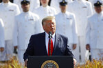 President Donald Trump speaks during a ceremony in observance of the 18th anniversary of the September 11th attacks at the Pentagon in Washington, Wednesday, Sept. 11, 2019. (AP Photo/Patrick Semansky)