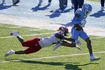 North Carolina wide receiver Dyami Brown (2) loses the ball while North Carolina State cornerback Malik Dunlap (24) defends during the first half of an NCAA college football game in Chapel Hill, N.C., Saturday, Oct. 24, 2020. (AP Photo/Gerry Broome)