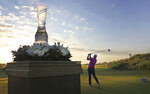 FILE - In this Thursday, May 17, 2018, file photo, Keith Mitchell hits from the first tee off during the first round of the AT&T Byron Nelson golf tournament at Trinity Forest in Dallas. With the sports calendar still mostly on hold because of the coronavirus pandemic, The Associated Press takes a look at some of the live sporting events that would have taken place the week of May 4-10, 2020, including the Byron Nelson tournament, which was to be played for the final time at Trinity Forest Golf Club. (Louis DeLuca/The Dallas Morning News via AP, File)