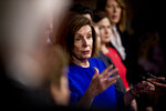 House Speaker Nancy Pelosi of Calif., speaks at a news conference to discuss the United States Mexico Canada Agreement (USMCA) trade agreement, Tuesday, Dec. 10, 2019, on Capitol Hill in Washington. (AP Photo/Andrew Harnik)