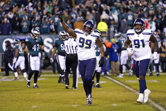 Seattle Seahawks' Quinton Jefferson reacts during the second half of an NFL wild-card playoff football game against the Philadelphia Eagles, Sunday, Jan. 5, 2020, in Philadelphia. (AP Photo/Chris Szagola)