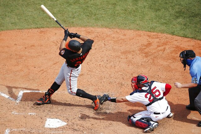 Baltimore Orioles' Pedro Severino (28) follows through on a two-run double in front of Boston Red Sox's Kevin Plawecki (25) during the seventh inning of a baseball game Saturday, July 25, 2020, in Boston. (AP Photo/Michael Dwyer)