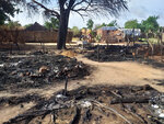 This photo shows aftermath of an attack in the village of Masteri in west Darfur, Sudan Saturday, July 25, 2020. A recent surge of violence in Darfur, the war-scarred region of western Sudan, has deprived more than 14,000 children of medical care, a leading aid group reported on Thursday, July 30, 2020. (Mustafa Younes via AP)