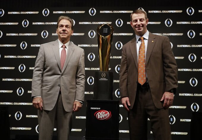 No. 1 Alabama meets No. 2 Clemson for CFP championship