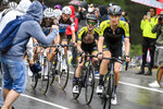 Britain's Simon Yates, second from right, pedals during the third stage of the Giro d'Italia, tour of Italy cycling race from Enna to Etna, Sicily, Monday, Oct. 5, 2020. Overall contender Simon Yates has withdrawn from the Giro d'Italia after testing positive for the coronavirus, his Mitchelton-Scott team announced before the eighth stage, Saturday, Oct. 10, 2020. (Marco Alpozzi/LaPresse via AP)