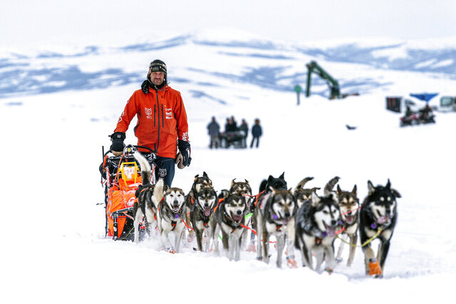 Thomas Waerner mushes into Unalakleet, Alaska, Sunday, March 15, 2020 during the Iditarod Trail Sled Dog Race. (Loren Holmes/Anchorage Daily News via AP)