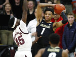 In this Wednesday, Feb. 13, 2019, file photograph, Arizona State forward Zylan Cheatham applies pressure to Colorado guard Tyler Bey as he looks to pass the ball in the first half of an NCAA college basketball game in Boulder, Colo. (AP Photo/David Zalubowski, File)