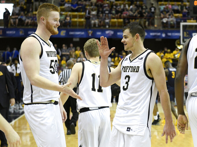 Wofford Terriers center Matthew Pegram (50) and Wofford Terriers guard Fletcher Magee (3) celebrate after they defeated East Tennessee State in a semifinal NCAA college basketball game for the Southern Conference tournament championship, Sunday, March 10, 2019, in Asheville, N.C. (AP Photo/Kathy Kmonicek)
