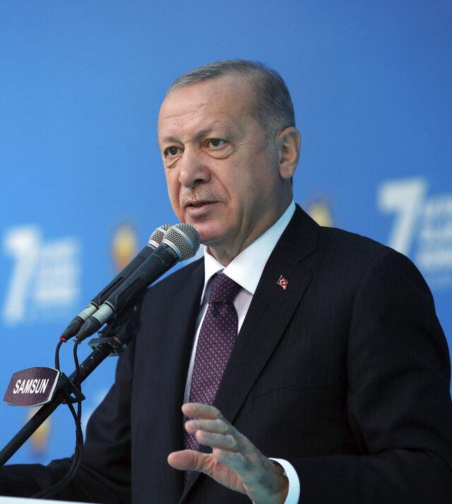 Turkey's President Recep Tayyip Erdogan addresses his ruling Justice and Development Party members at a soccer stadium, in Black Sea city of Samsun, Turkey, Monday, Nov. 1, 2020. (Turkish Presidency via AP, Pool)