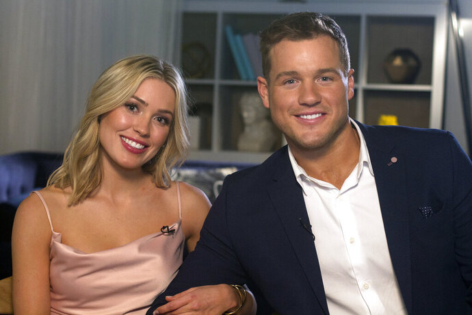 Cast members Cassie Randolph, left, and Colton Underwood from the reality series,