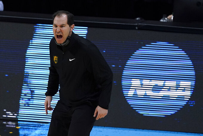 Baylor head coach Scott Drew reacts during the second half of a men's Final Four NCAA college basketball tournament semifinal game against Houston, Saturday, April 3, 2021, at Lucas Oil Stadium in Indianapolis. (AP Photo/Darron Cummings)