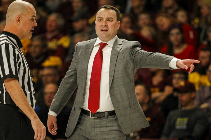 Indiana head coach Archie Miller yells to his team as they play Minnesota in an NCAA college basketball game Saturday, Feb. 16, 2019, in Minneapolis. Minnesota won 84-63. (AP Photo/Bruce Kluckhohn)