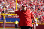 Kansas City Chiefs head coach Andy Reid argues a call during the second half of an NFL football game against the Los Angeles Chargers, Sunday, Sept. 26, 2021, in Kansas City, Mo. (AP Photo/Ed Zurga)