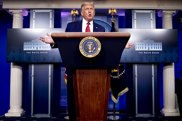 """President Donald Trump speaks during a news conference in the James Brady Press Briefing Room at the White House, Monday, Aug. 10, 2020, in Washington. Trump has a ready solution for almost any crisis: more of Donald Trump. In a template forged in his 2016 convention speech when he declared that """"I alone can fix it,"""" the president has repeatedly put himself forth as the answer.  (AP Photo/Andrew Harnik)"""