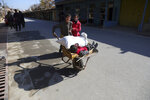 An Afghan boy and his sister use a wheelbarrow to move their brother in Istalef district of Kabul, Afghanistan, Saturday, Nov. 21, 2020. (AP Photo/Rahmat Gul)