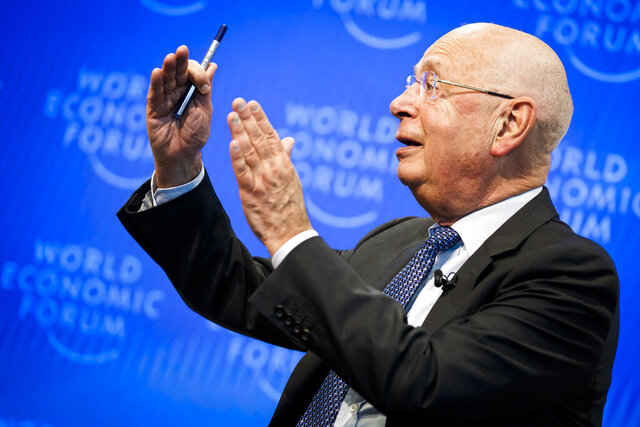 Klaus Schwab, Founder and Executive Chairman of the World Economic Forum, WEF, gestures during a press conference, in Cologny near Geneva, Switzerland, Tuesday, January 14, 2020. The World Economic Forum unveiled the program for its 50th Annual Meeting in Davos, Switzerland, including the key participants, themes and goals. The overarching theme of the Meeting, which will take place from 21 to 24 January, is