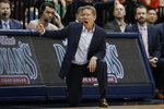 Gonzaga coach Mark Few reacts during the first half of the team's NCAA college basketball game against San Diego, Thursday, Jan. 9, 2020, in San Diego. (AP Photo/Gregory Bull)