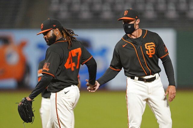 San Francisco Giants starting pitcher Johnny Cueto (47) walks to the dugout after being removed by manager Gabe Kapler during the seventh inning of the team's baseball game against the San Diego Padres on Saturday, Sept. 26, 2020, in San Francisco. (AP Photo/Eric Risberg)