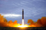 FILE - In this Aug. 29, 2017 file photo by the North Korean government shows what was said to be the test launch of a Hwasong-12 intermediate range missile in Pyongyang, North Korea. To hear a beaming Donald Trump at his June summit with Kim Jong Un in Singapore, the solution to North Korea's headlong pursuit of nuclear weapons, a foreign policy nightmare that has flummoxed U.S. leaders since the early 1990s, was at hand. (Korean Central News Agency/Korea News Service via AP, File)