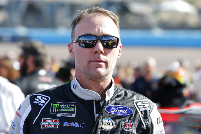 Kevin Harvick prior to the NASCAR Cup Series auto race at ISM Raceway, Sunday, Nov. 10, 2019, in Avondale, Ariz. (AP Photo/Ralph Freso)