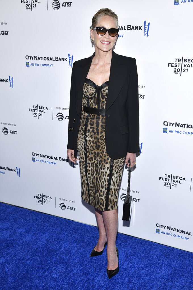 Sharon Stone attends the premiere of Dave Chappelle's untitled documentary during the closing night celebration for the 20th Tribeca Festival, at Radio City Music Hall, on Saturday, June 19, 2021, in New York. (Photo by Charles Sykes/Invision/AP)