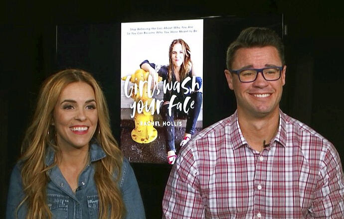 This image taken from video shows Rachel Hollis, left, author of