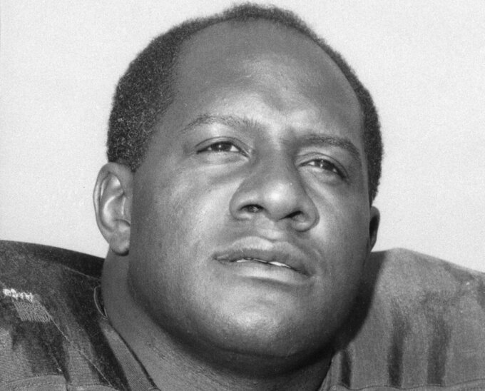 FILE - This is a 1966 file photo showing Green Bay Packers' Willie Davis. Davis, a Pro Football Hall of Fame defensive lineman who helped the Packers win each of the first two Super Bowls, has died. The Packers confirmed Davis' death to the Pro Football Hall of Fame on Wednesday, April 15, 2020. He was 85. (AP Photo/File)