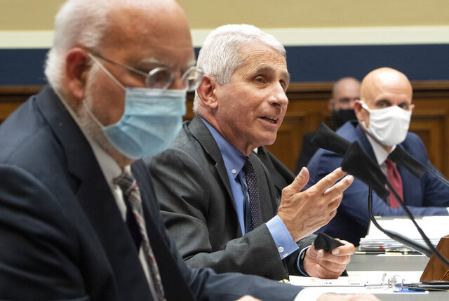 From left to right, Dr. Robert Redfield, Director, Centers for Disease Control and Prevention; Dr. Anthony Fauci, Director, National Institute for Allergy and Infectious Diseases, National Institutes of Health and Dr. Stephen M. Hahn, Commissioner, U.S. Food and Drug Administration testify, before a House Committee on Energy and Commerce on the Trump administration's response to the COVID-19 pandemic on Capitol Hill in Washington on Tuesday, June 23, 2020. (Kevin Dietsch/Pool via AP)